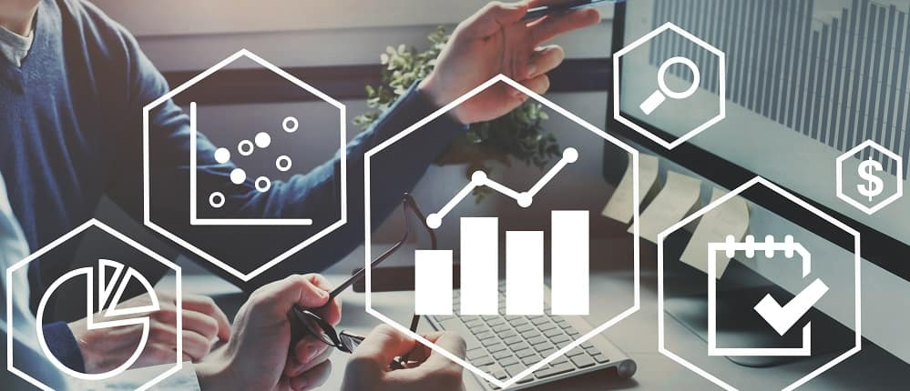 Business analytics intelligence concept, financial charts to analyze profit and finance.